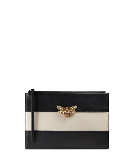 Gucci Bee Striped Zip Pouch Bag, Black/White