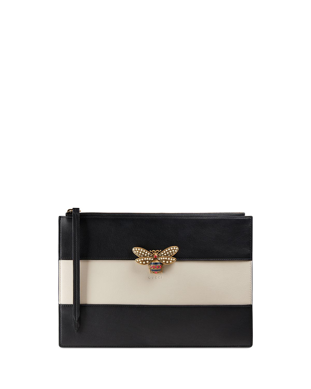 af9a0e69c977 Gucci Bee Striped Zip Pouch Bag, Black/White   Neiman Marcus