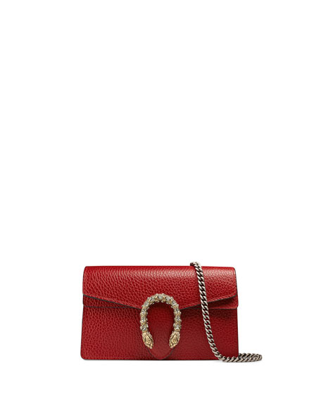 Gucci Dionysus Leather Super Mini Bag, Red