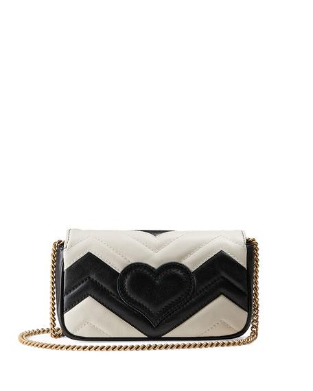 GG Marmont Matelassé Leather Super Mini Bag, Black/White