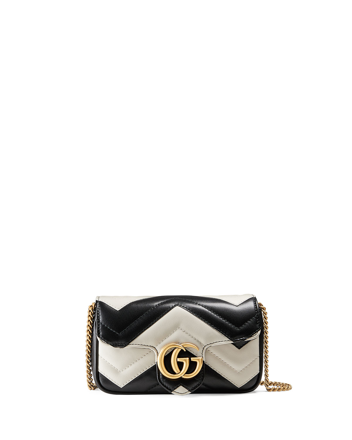 18d67f9ae0bc Gucci GG Marmont Matelassé Leather Super Mini Bag, Black/White ...