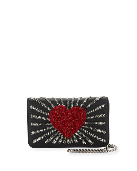 Les Petits Joueurs Ginny Heart Leather Shoulder Bag,