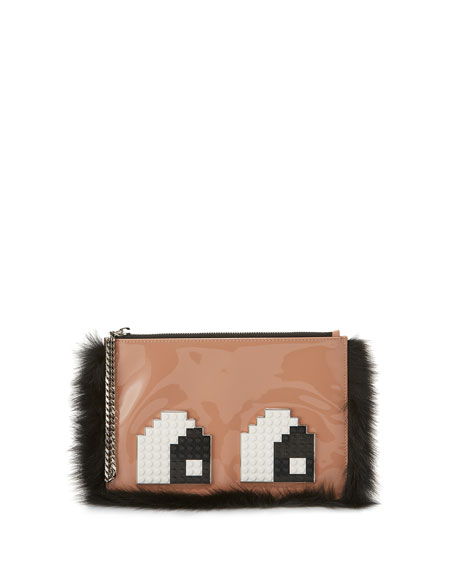 Les Petits Joueurs Envelope Eyes Leather Clutch Bag,