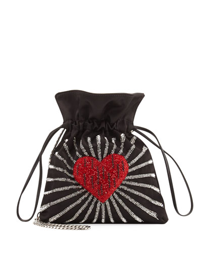 Trilly Heart Satin Drawstring Shoulder Bag