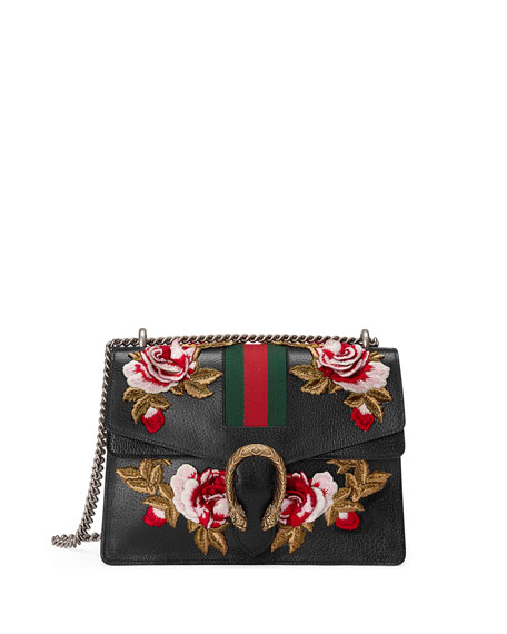 Medium Dionysus Embroidered Roses Leather Shoulder Bag - None, Black