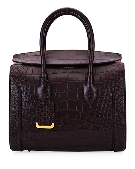 Alexander McQueen Heroine 35 Small Croc-Embossed Leather Tote