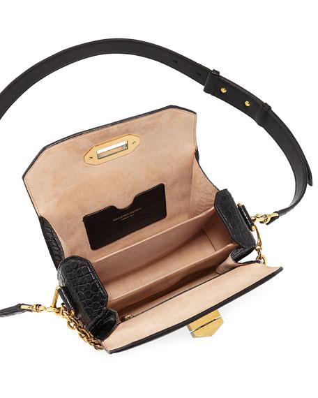 Box 19 Crocodile-Embossed Satchel Bag, Black