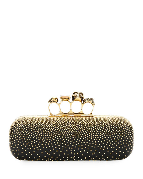 Alexander McQueen Knuckle Studded Leather Box Clutch Bag,