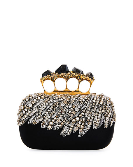 Stone Eagle-Embroidered Knuckle Clutch Bag, Black