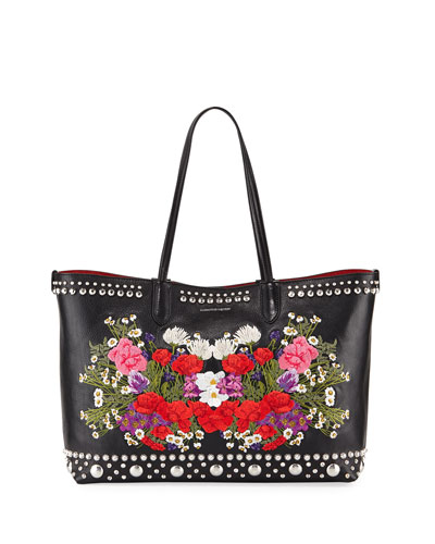Lino Medium Embroidered Leather Tote Bag
