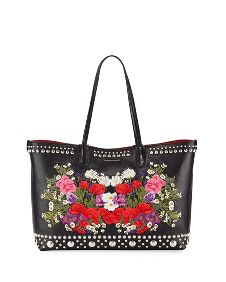 Alexander McQueen Lino Medium Embroidered Leather Tote Bag