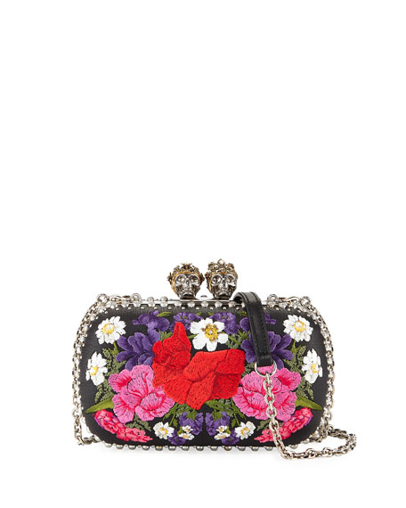 Alexander McQueen Queen & King Large Floral-Embroidered Clutch