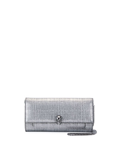 Lino Embossed Wallet On a Chain, Gray Metallic