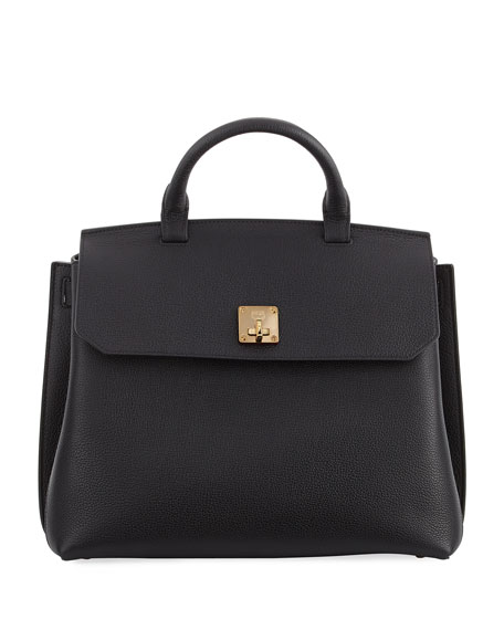 MCM Milla Pebbled Leather Turn-Lock Top-Handle Bag