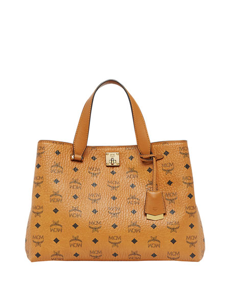 MCM Signature Visetos Logo Satchel Bag