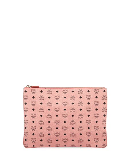 MCM Color Visetos Logo-Print Pouch Bag