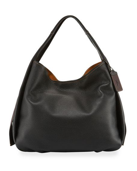 Pebbled Leather Hobo Bag, Black