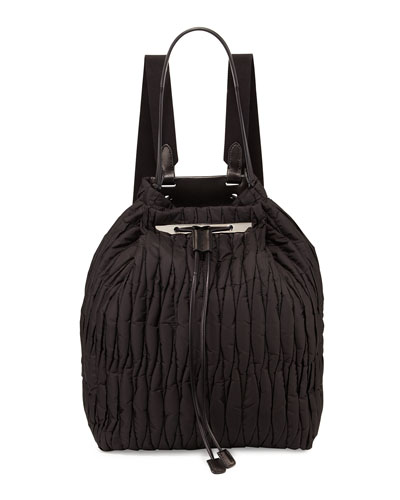 Quilted Nylon Drawstring Backpack, Black