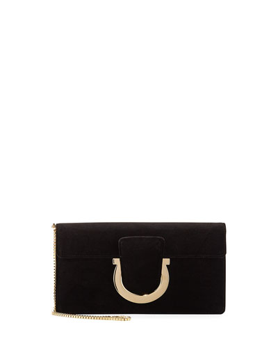 Thalia Small Velvet Clutch Bag