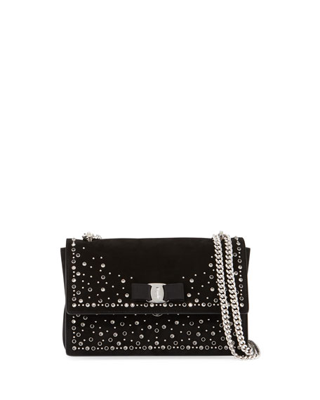 Salvatore Ferragamo Medium Embellished Suede Shoulder Bag, Black