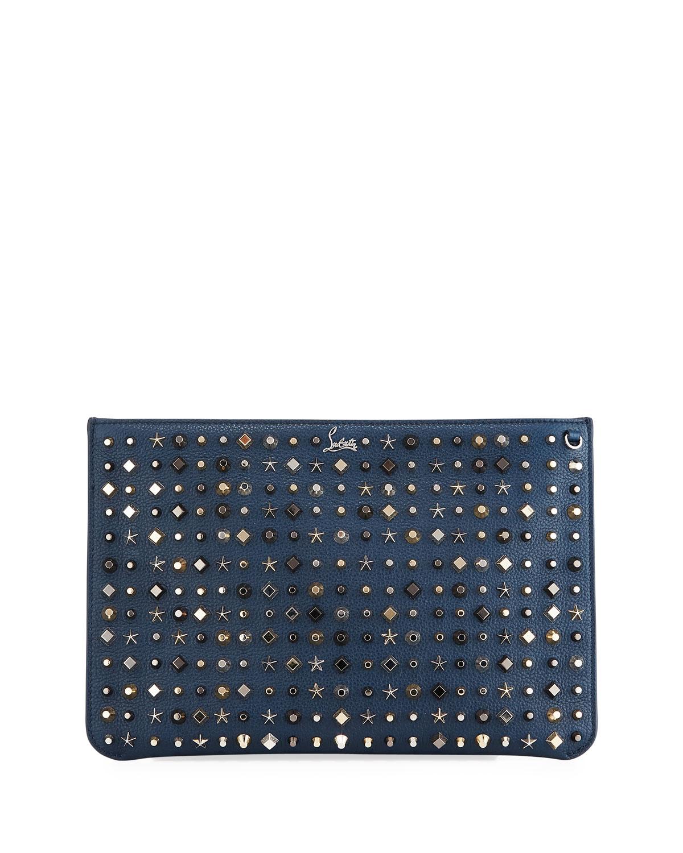 894b5470231 Loubiclutch Empirespikes Mixed-Spike Clutch Bag, Navy