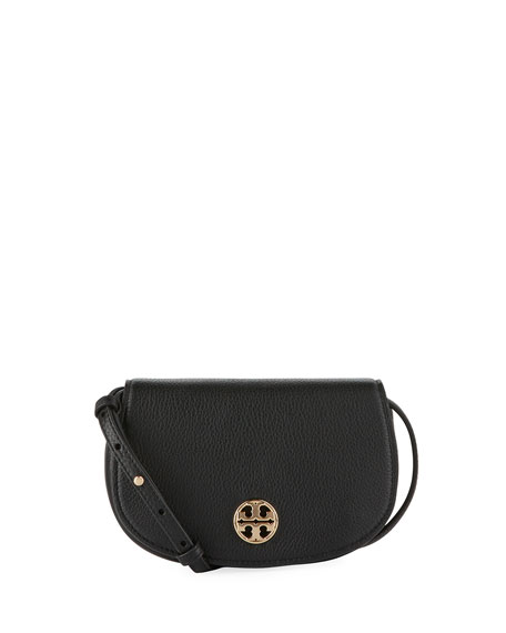 Jamie Mini Leather Crossbody Bag, Black
