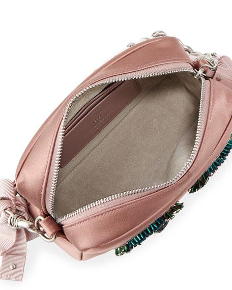 Diamante Eyes Satin Clutch Bag, Blush