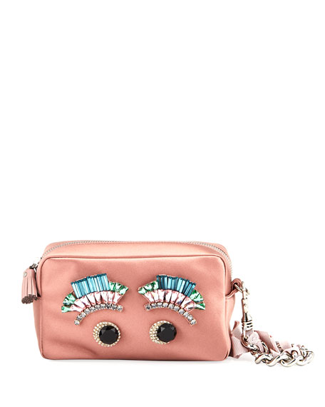 Anya Hindmarch Diamante Eyes Satin Clutch Bag, Blush
