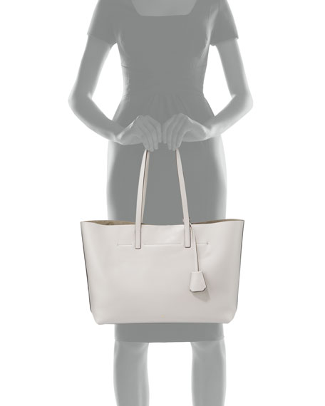 Ebury Eyes Leather Shopper Bag, Off White