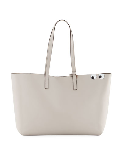 Ebury Eyes Leather Shopper Bag, Off White