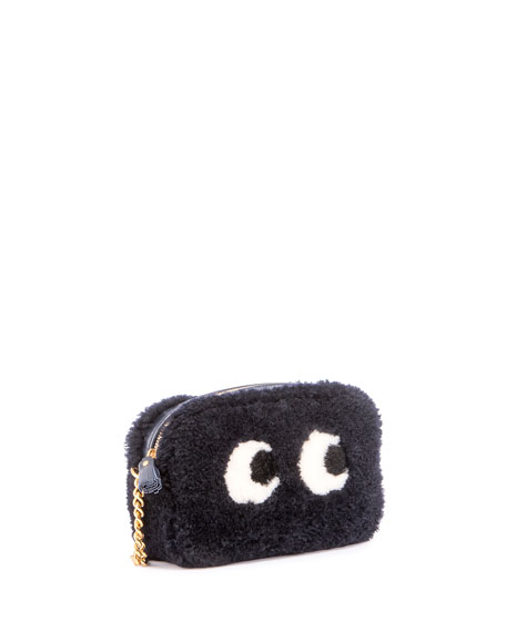 Mini Eyes Shearling Fur Crossbody Bag, Indigo