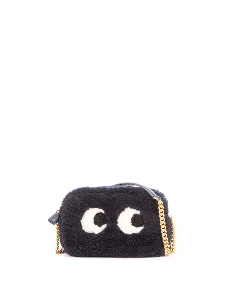 Anya Hindmarch Mini Eyes Shearling Fur Crossbody Bag,