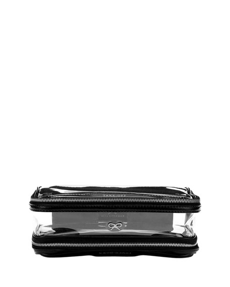 Anya Hindmarch Inflight Patent Leather Clear Pouch, Black