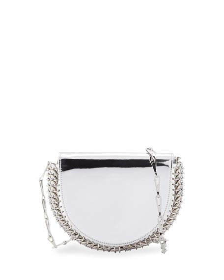 1402 Metallic Half Moon Mini Chain Bag, Silver by Paco Rabanne