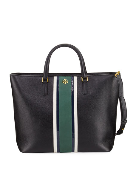 Tory Burch Georgia Striped Leather Zip Tote Bag