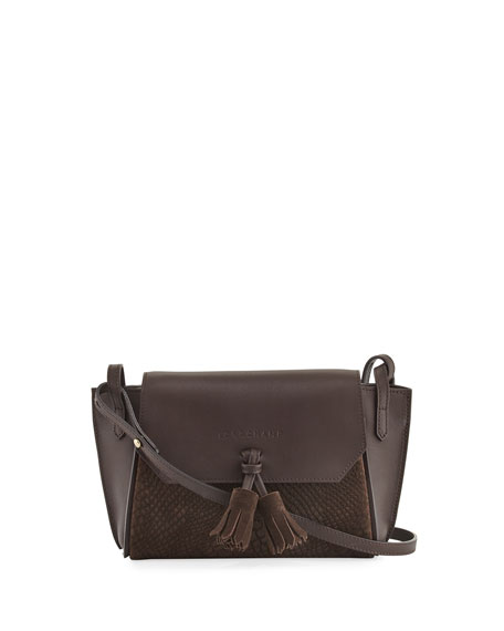 Longchamp Penelope Python-Embossed Crossbody Bag