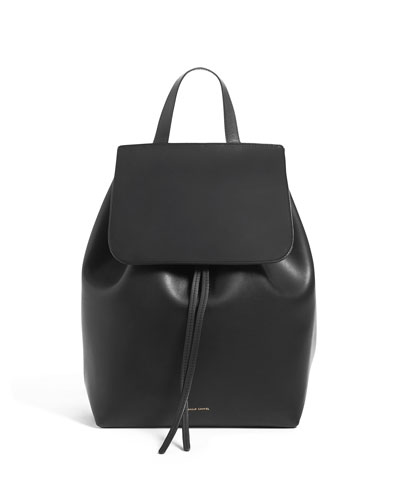 Leather Flap-Top Backpack  Black/Red