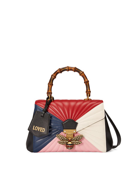 Gucci Linea Large Bee Bamboo-Handle Bag, Blue/Multi