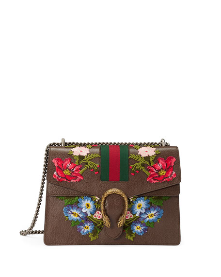 Medium Dionysus Embroidered Leather Shoulder Bag - Brown