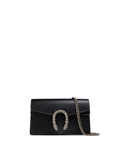 Dionysus Leather Super Mini Bag, Black