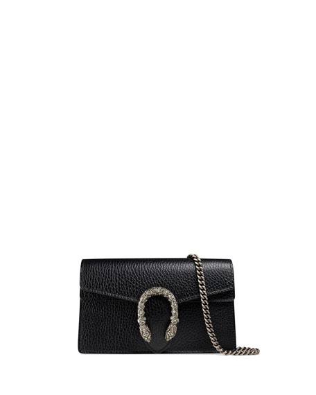 Super Mini Dionysus Leather Shoulder Bag - Black