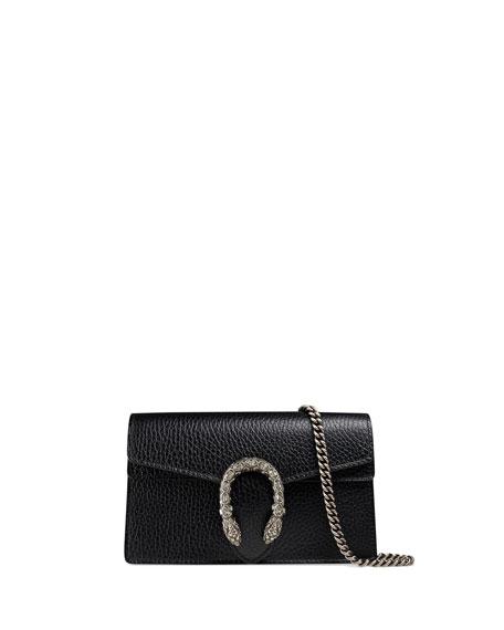 Super Mini Dionysus Leather Shoulder Bag - Black