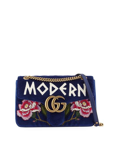 GG Marmont Medium Embroidered Velvet Chain Shoulder Bag