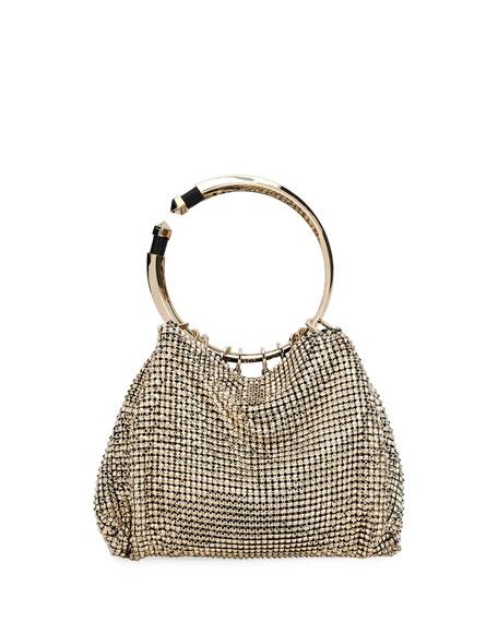 Bebop Ring Loop-Handle Clutch Bag, Gray