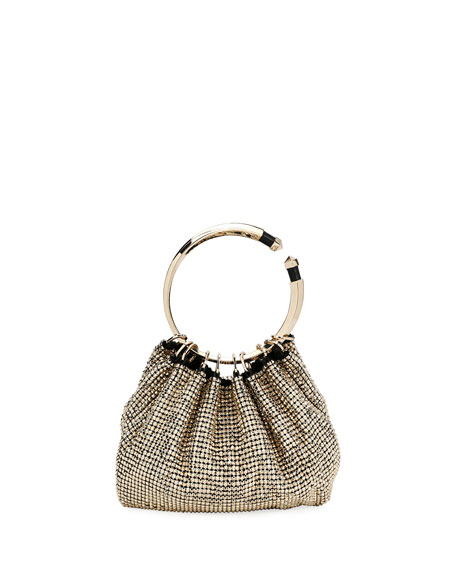 Valentino Garavani Bebop Ring Loop-Handle Clutch Bag, Gray