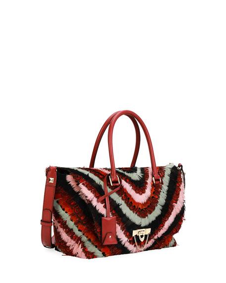 Demilune Medium Feather Top-Handle Bag