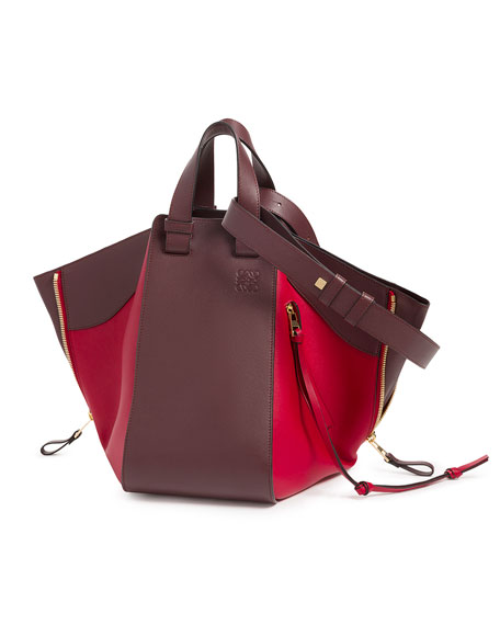 Two-Tone Leather Hammock Bag, Red