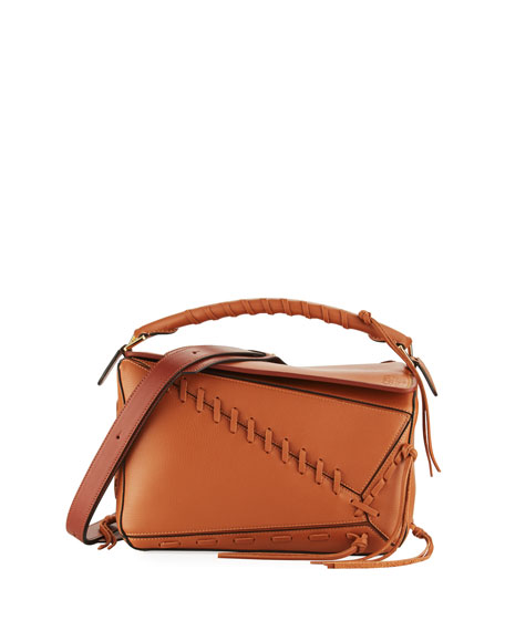 Loewe Puzzle Whipstitch Leather Satchel Bag, Tan