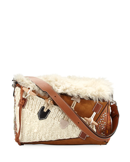 Loewe Puzzle XL Studded Shoulder Bag, Beige