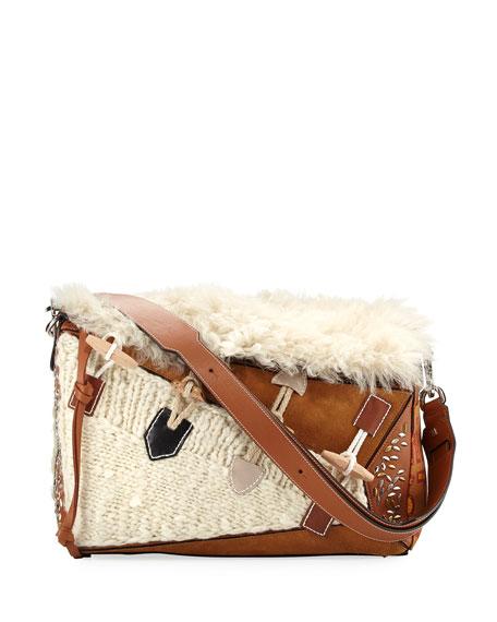 Loewe Puzzle XL Studded Shoulder Bag, Beige